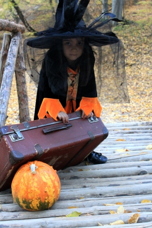 Halloween Tric-or-Treater in her costume witch Stock Photo - 16002276