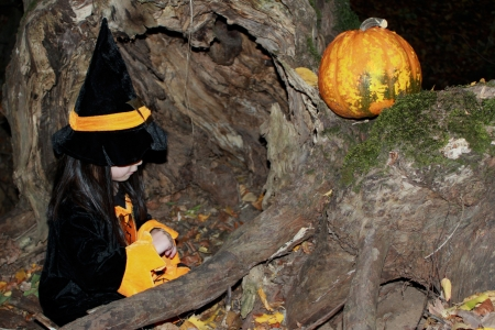 Witch child with a pumpkin on Halloween Stock Photo - 16002277