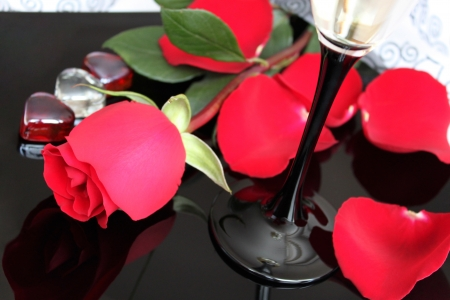 Beautiful red rose, glass of wine and rose leaves photo