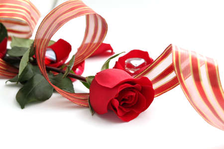 Romantic red rose and ribbon on white background photo