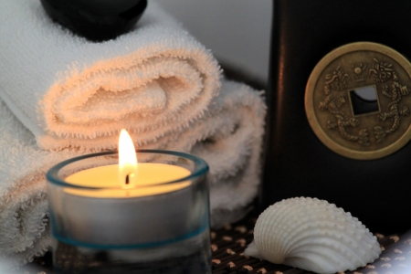 Spa  Wellness composition with candle and clam shell photo
