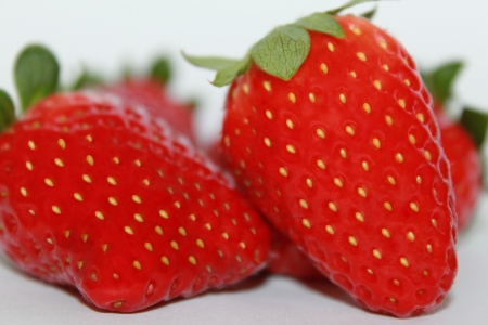 Close up of fresh strawberries on white background
