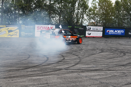 dragster: Drifting car in tunning show Editorial