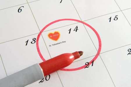 February 14th Valentines Day on the calendar photo