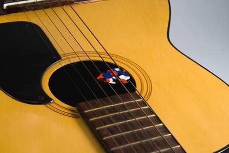 Guitar Top Strings and Pick Stock Photo