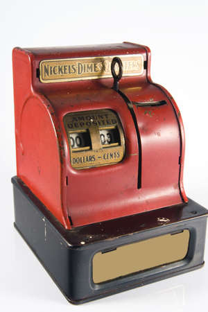 dime: Old vintage red mechanical quarter dime and nickle bank
