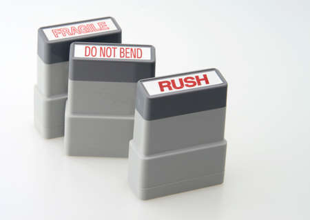 Office Stamps Packages Rush Do NOt Bend Fragile Stock Photo