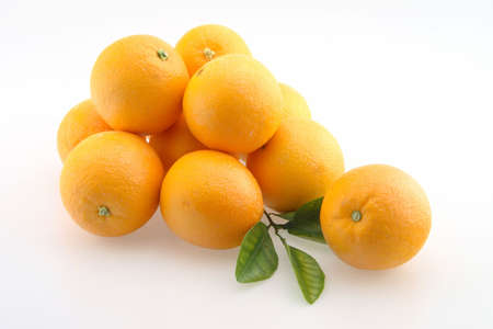 florida citrus: Fresh Oranges stacked in a bunch and Pile Isolated  Stock Photo