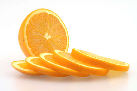 Fresh Oranges Sliced ready to eat Isolated Stock Photo - 2562989