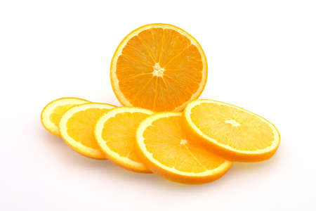 Fresh Oranges Sliced ready to eat Isolated Stock Photo - 2503577