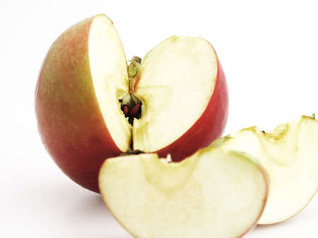 Freash apple sliced and core with seeds for eating