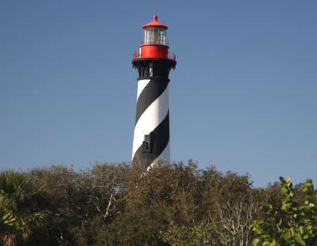 Old St Augustine light house with black and white spirals