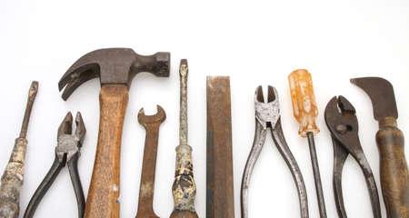 alicates: Old Caja de herramientas martillo alicates destornillador llave cincel
