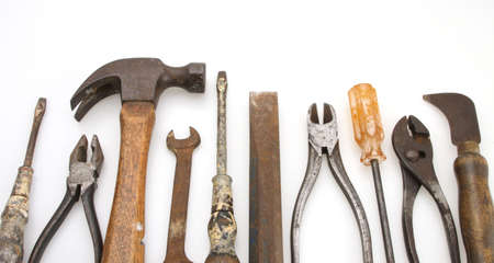 Old Tool set hammer pliers screw driver wrench chisel Stock Photo