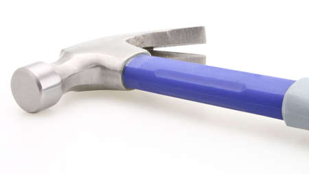 Rubber handle hammer blue and gray construction tool