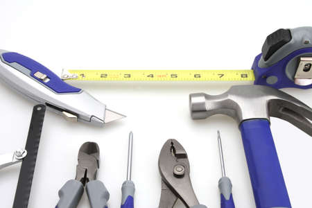Tool set hammer pliers adjustable screw driver box knife tape Stock Photo