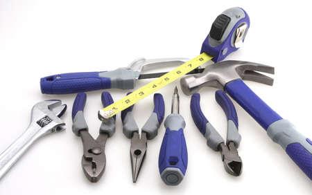 Tool set hammer pliers adjustable screw driver measuring tape