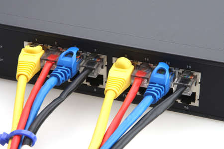 Router and cad 5 cables yellow red blue and black Stock Photo - 2703340