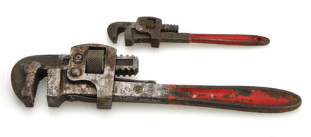 handled: Old Vintage red handled plumbers pipe wrenchs