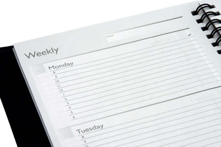 Weekly planner Monday and Tuesday isolated on white background