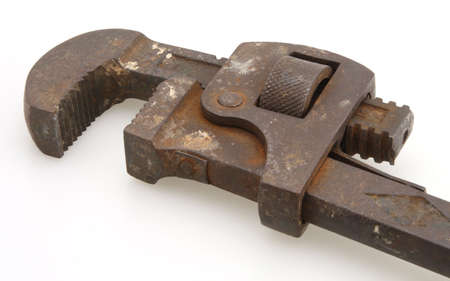 grasping: Old pipe wrench some rust works very well Stock Photo