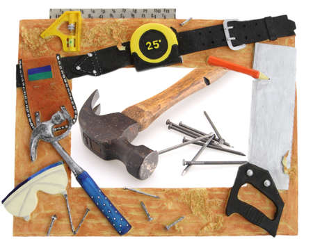 Tool Frame hammer square saw tape measure photo