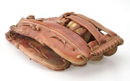 mitt: Baseball inside pocket of fielders mitt glove Stock Photo