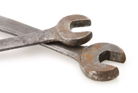 standard steel: old vintage open end standard steel wrenches close-up