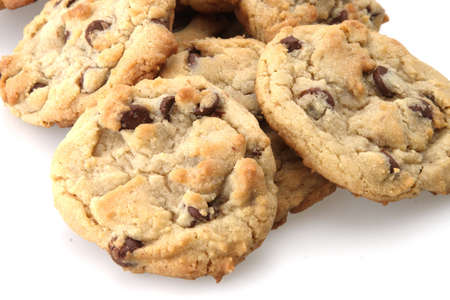 Chocolate chip cookies freshly baked out of the oven Stock Photo
