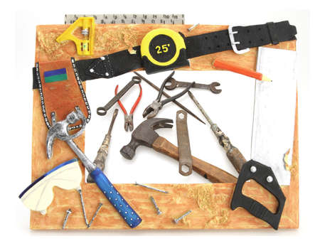 Tool Frame hammer square saw tape measure with tools photo