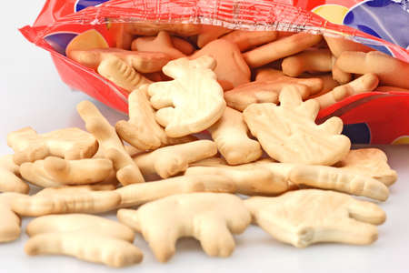 Bag of fresh animal cookies for childrens snack Stock Photo