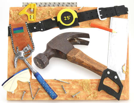 Tool Frame hammer square saw tape measure with hammer