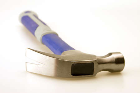 hammer head: Close up of hammer head blue and gray handle