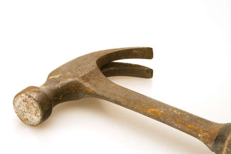 pry: Old tools hammer and pry bar for construction