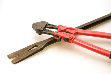 leverage: New red bolt cutters and old prybar