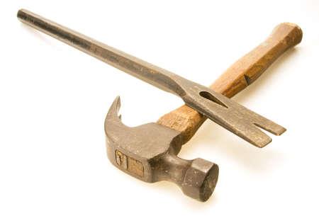 pry: Old steel hammer and worn flat prybar Stock Photo