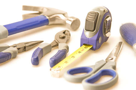 Tools focus on tape measure hammer background