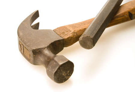 Old woodl hammer and steel flat prybar Stock Photo
