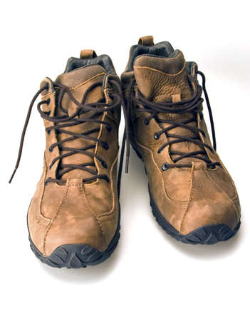 High top mountain climbing hiking lace up boots rubber sole  Stock Photo