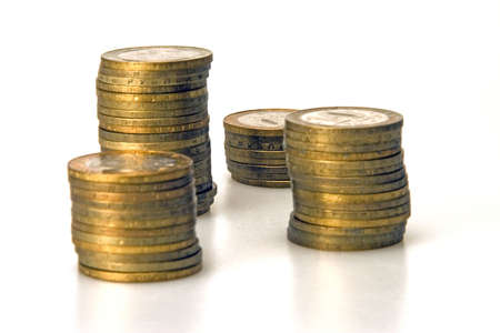 Four stacks of coins rubles Russian currency