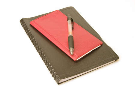 Red check book address and pen on white background