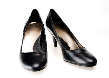 Womans black high heeled formal dress shoes