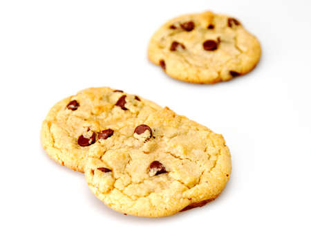 Close up of 2 chocolate chip cookies one out of focus Stock Photo