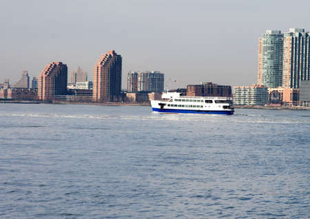 Water taxie on New York Harbor Brooklyn and Manhattan Stock Photo