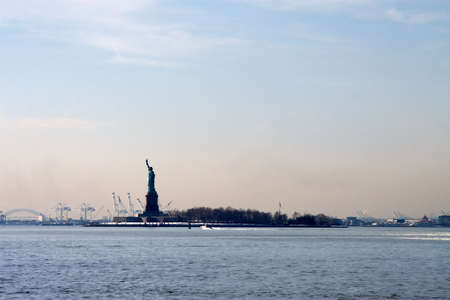 Statue of Liberty in the waters of New York Harbor