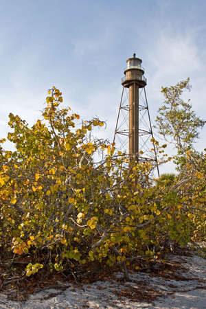 Sanibel lighthouse with beautiful blue sky in the background Stock Photo