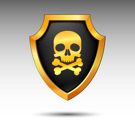 Shield with skull on a white background.  Stock Vector - 7780803