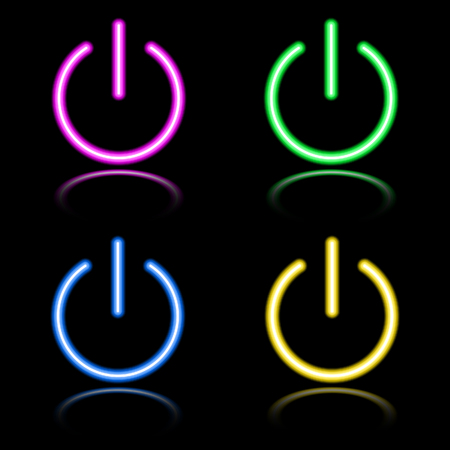 Icon set of neon buttons. Eps8 Stock Vector - 7999299