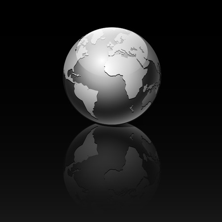 Globe on a black background. Vector illustration.