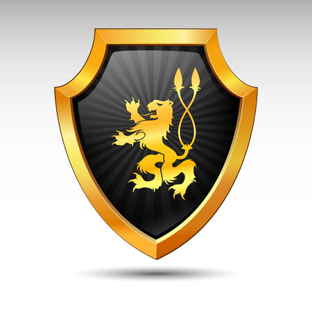 3d lion: Shield on a white background.
